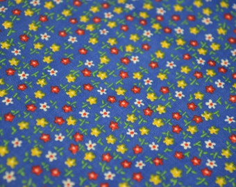 Vintage Blue Floral Fabric, Yellow and Red Flowers