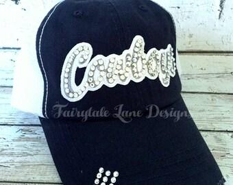 COWBOYS Bling Hat - Distressed Trucker Cap- Cowboys Football - Swarovski Rhinestones