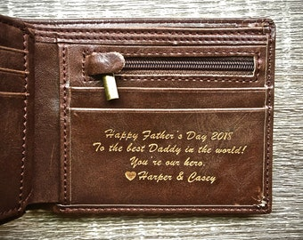 Fathers Day Gift - Personalized Men's Leather Wallet - The Perfect Gift for Dad, Boyfriend Gift, or Groomsmen Gift