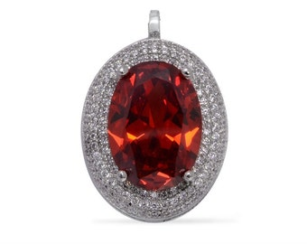 Red Glass Oval, Simulated White Diamond Pendant in Silver-tone Without Chain