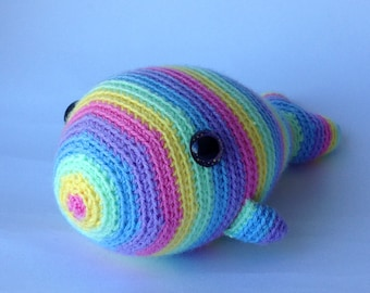Crocheted stuffed animal Lisa the Rainbow Whale