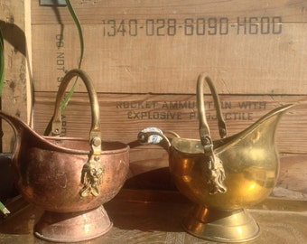 Copper and brass planter set lion heads