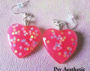 Pink star heart shaped earrings