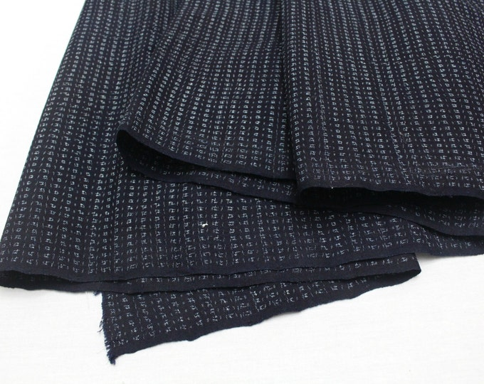 Hand Loomed Antique Cotton. Japanese Kasuri Kagasuri Ikat. Dark Indigo Blue Black. (Ref: 1598B)