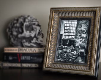 Framed Photo of Inside of Abandoned Kings Park Psych. Center with Graffiti