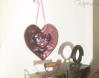 Glass heart in rose/Fusing enamel glass heart/window jewelry Stained glass panel/light game/window image/Wohndekor/Tiffanytechnik