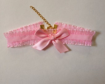Pink Ruffle Choker with Bow