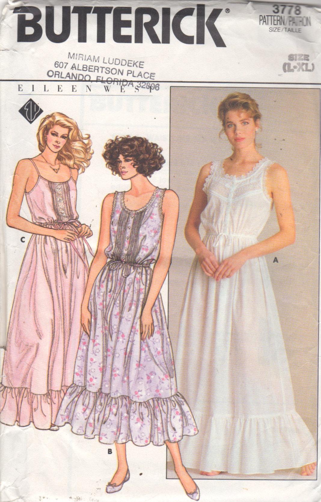 Butterick 3778 1980s EILEEN WEST Misses Romantic Nightgown Pattern ...