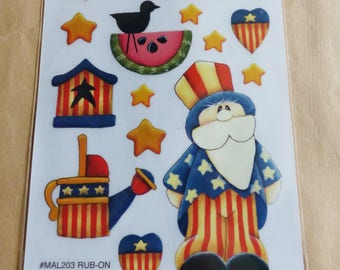 rub - on Uncle uncle SAM USA American flag patriotic patriotism USA decal transfer scratch stick star