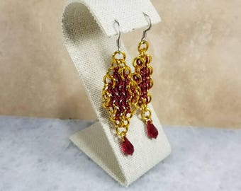 Chainmaille Earrings - Red & Gold Featuring Red Swarovski Drops