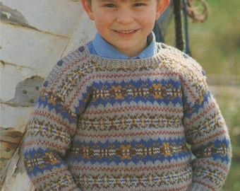 Childrens Fair Isle Sweater and Beret Knitting Pattern : Boy or Girl . Toddlers . 22, 24, 26 and 28 inch chest . Fairisle Jumper & Hat . PDF