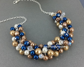 Navy and Champagne Necklace Chunky Jewelry Maid of Honor Gift Pearl Necklace Bridesmaid Necklace Cluster Necklace Bridesmaid Gift for Her