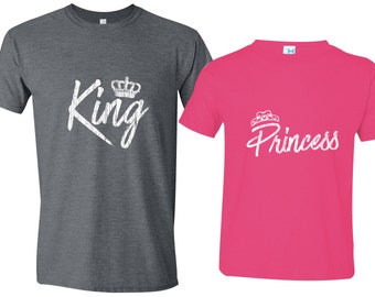 Matching Father Daughter Shirts, King Princess Father Shirt Daughter Royal Matching Family Shirts First Fathers Day Men's Todder Tee