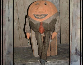 SALE mailed paper pattern primitive folk art Humpty Dumpty Pumpkin man Jaunty Jack  HAFAIR ofg faap 105