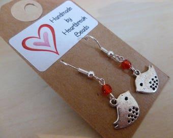 little red bird earrings