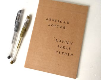 Personalised Notebook, Brown Kraft A5 Notepad, Jotter, Doodle Pad, Lovely Ideas Within