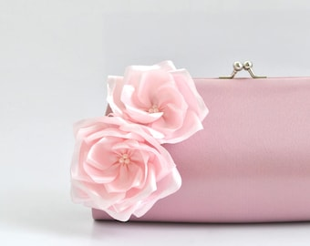 Dusty Rose - Pale Pink - Bridesmaid Clutch / Bridal clutch /Wedding clutch / Prom clutch / Custom clutch