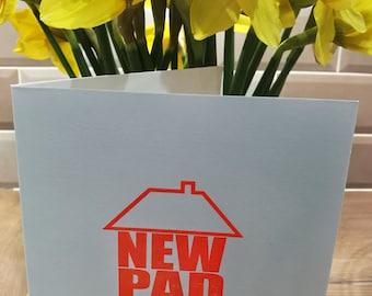 New Home Greetings Card - letterpress - fluorescent orange