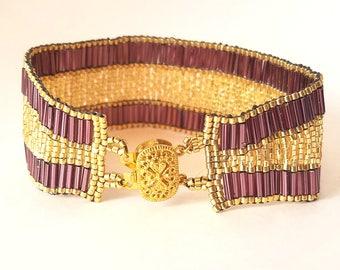 Handmade Purple and Gold Bracelet; Sleek Bracelet Design by Jill Wiseman made with Silver-Lined Gold, Silver-lined Purple and Gold Beads