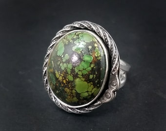 Green Himalayan Turquoise Ring - Size 11 - Amazing Webbed Colors