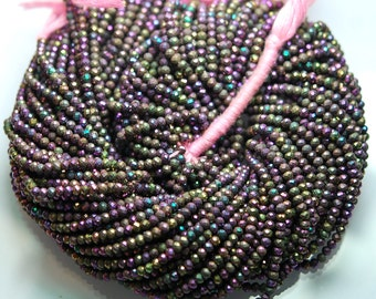 13 inch Strand,Mystic Pink BLACK SPINEL Machine Cut Quality,Finest Quality Micro Faceted Rondelles,3.25mm