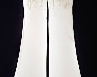 Aris of Paris White Leather Elbow Gloves ~ Size 7 1/2