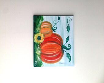 Pumpkin Painting, Pumpkin Art, Fall Art, Fall Pumpkin Painting, Nature Painting, Nature Art, Housewarming Gift, Gift for her, Gift for him