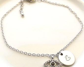 Silver evil eye bracelet- Silver initial and evil eye bracelet, initial bracelet,bridesmaid gift, evil eye jewelry , personalized evil eye