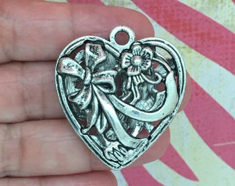 1 Silver Heart Charm Pendant SP0114