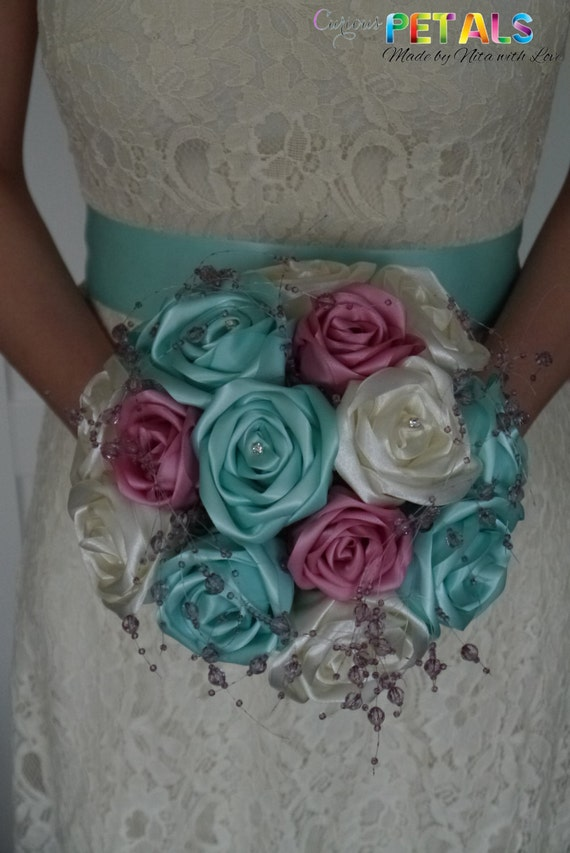 Sweet Mint Green Pink & White Satin Ribbon Rose Wedding