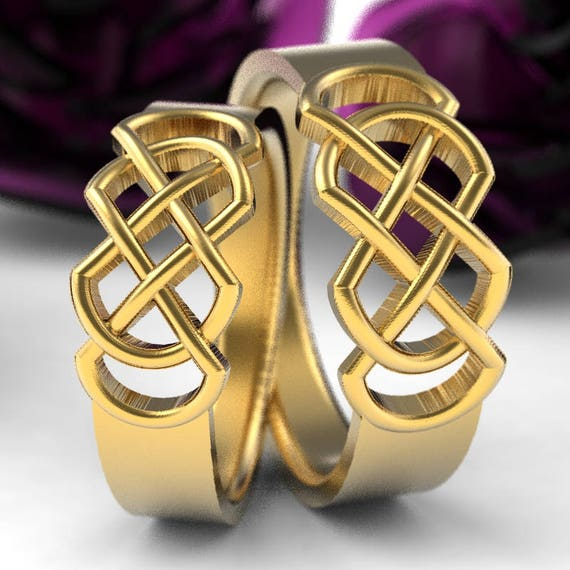 Celtic Wedding Band Set With Infinity Knot Design in 10K 14K 18K Gold, Platinum or Palladium Made in Your Size CR-770