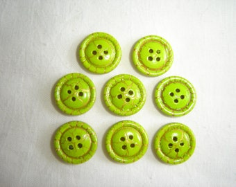 8 buttons green & gold marble / / 15 mm