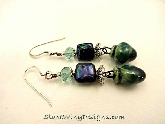 Scorched Earth Porcelain, Teal Square Pearls and Faceted Fluorite Earrings