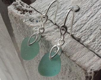 Sea Glass Earrings, Aqua Sea Glass, Sterling silver earwires, Seaham Sea glass, English Sea glass, Sea glass jewellery