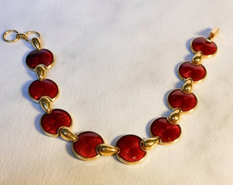 Red Disc Bracelet    Vintage 7 Inch    Cherry Red & Gold     Gold Tone   Red Enamel
