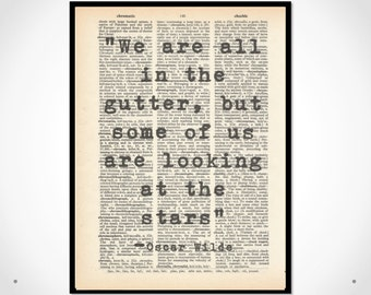Quote Oscar Wilde, Typography,Dictionary art print  and black white wall decor  up-cycled vintage book page art 8x10