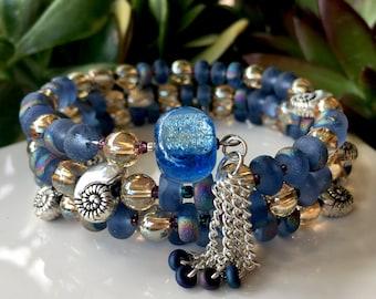 108-Bead Glass Wrist Mala - handmade