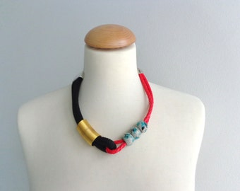 Black red gold green statement necklace