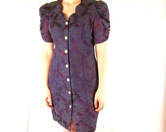 Vintage 1980's Purple Cocktail Party Dress, Modern Size 8 Small