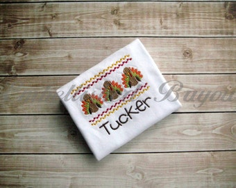 Thanksgiving Faux Smocked Turkey Embroidered T-shirt or Onesie Personalized for Girls or Boys