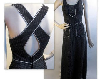 Vintage 70s Mod Metallic Maxi Dress S  Overall Patch Pocket Style
