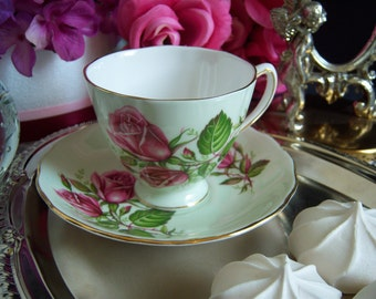 Colclough Teacup and Saucer - English Bone China - Teacup with Pink Roses - Colclough China - Teacup and Saucer - Bone China Teacup
