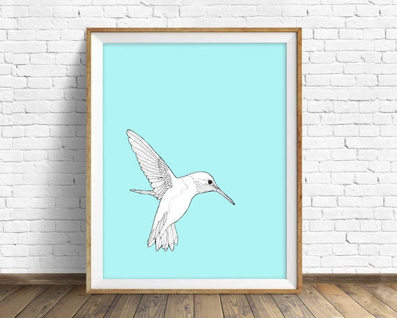 "hummingbird, hummingbird print, wall art, art print, large art, large wall art, pastel blue, nature prints, nursery wall art - ""Hummingbird"""