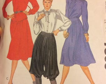UNCUT Vintage 80's Sewing Pattern McCall's 7803 Misses' Blouse, Knickers, and Skirt Bust 34 Size 12 Uncut Complete
