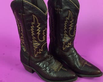 Vintage Embroidered Western Boots - Leather Dancing Boots 7