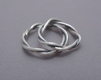 Twig Wedding Band Set, His and Hers Sterling Silver Twisted Tree Branch Wedding Bands, Commitment Rings, BE68