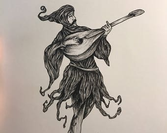 Lute player print