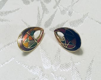 Tear Drop Cloisonné Post Earrings