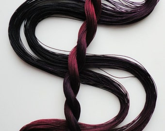 "Size 40 ""Midnight Oil"" hand dyed thread 6 cord cordonnet tatting crochet cotton"