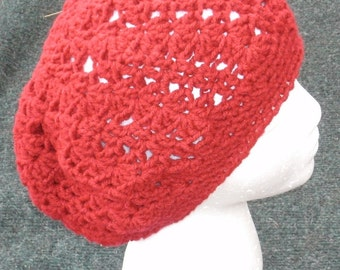 Slouchy Hat, Slouchy Beanie, Crochet Hat, Red Beret, Lacey Hat in Red, Womens Hat, Slouch Beanie, Beanie Hat, Red Beanie, Womans Beanie Hat